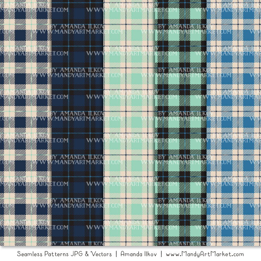 Navy & Mint Cozy Plaid Patterns