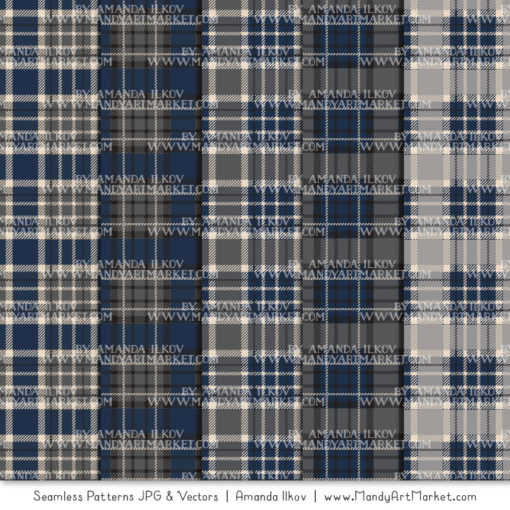 Navy & Pewter Cozy Plaid Patterns