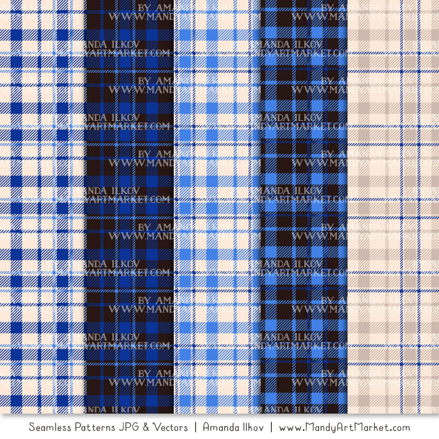 Royal Blue Cozy Plaid Patterns