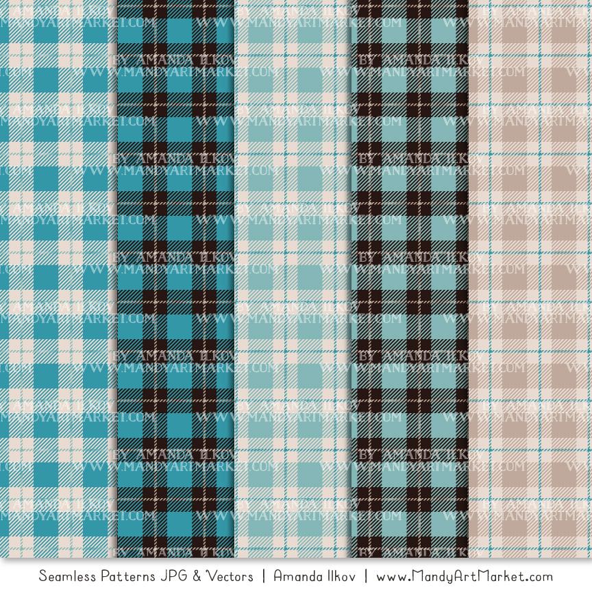 Vintage Blue Cozy Plaid Patterns