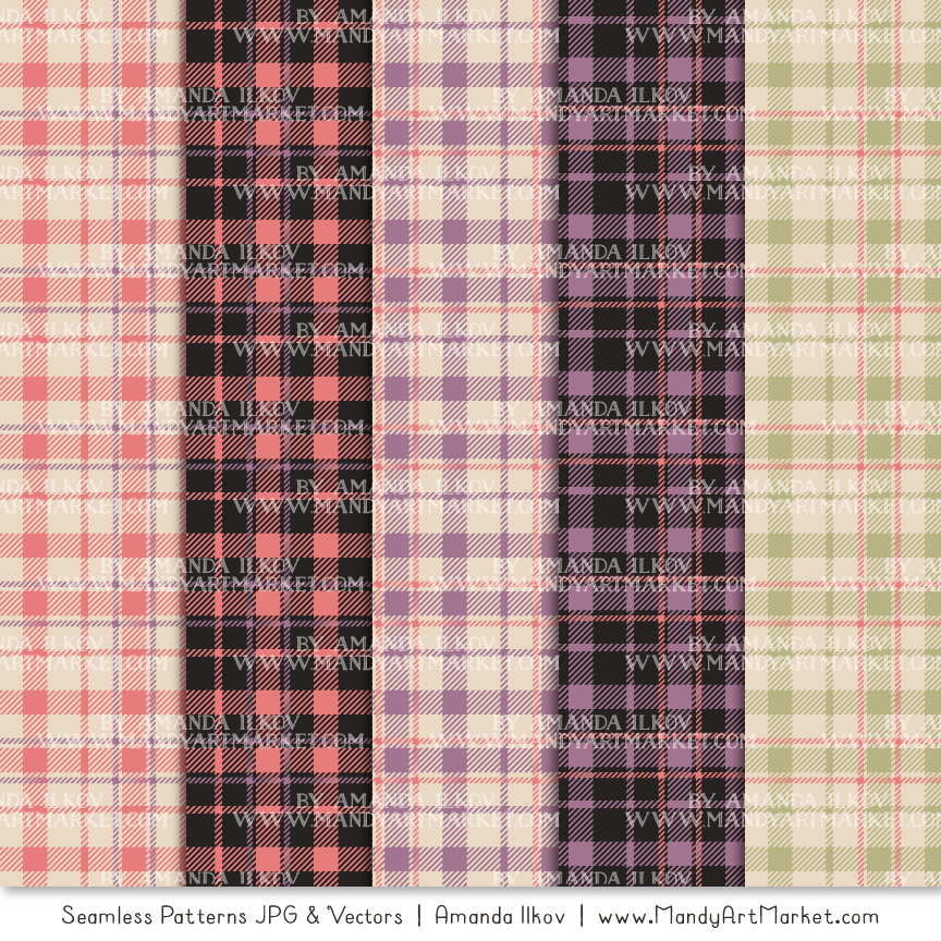 Vintage Girl Cozy Plaid Patterns
