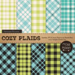Aqua & Bamboo Cozy Plaid Patterns