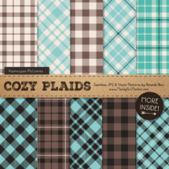 Aqua & Brown Cozy Plaid Patterns