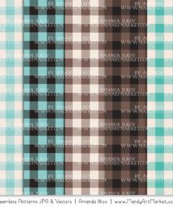 Aqua & Brown Cozy Plaid Patterns