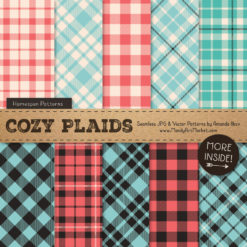 Aqua & Coral Cozy Plaid Patterns