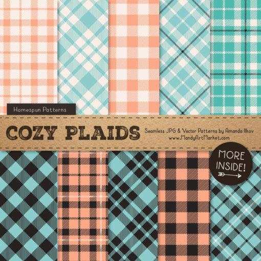 Aqua & Peach Cozy Plaid Patterns