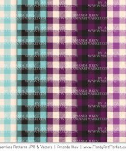 Aqua & Plum Cozy Plaid Patterns