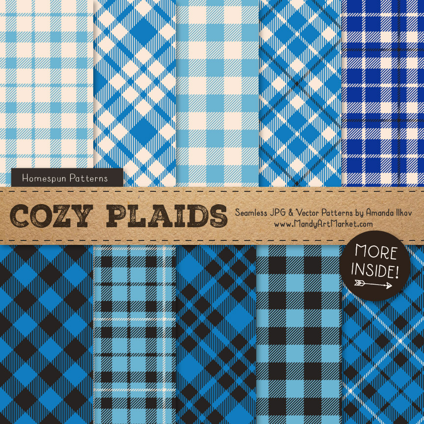 Blue Cozy Plaid Patterns