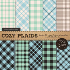 Blue & Mint Cozy Plaid Patterns