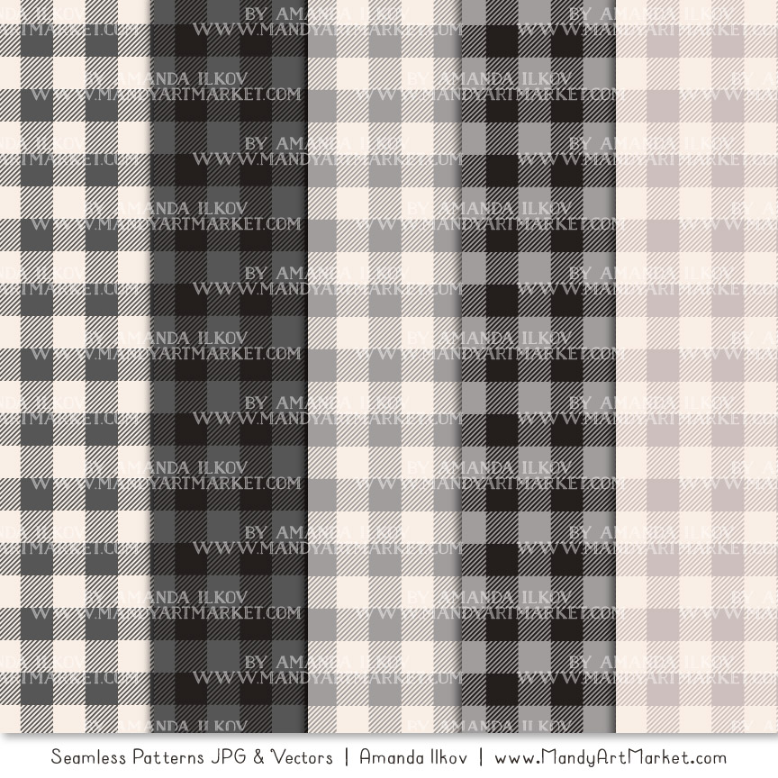 Grey Cozy Plaid Patterns