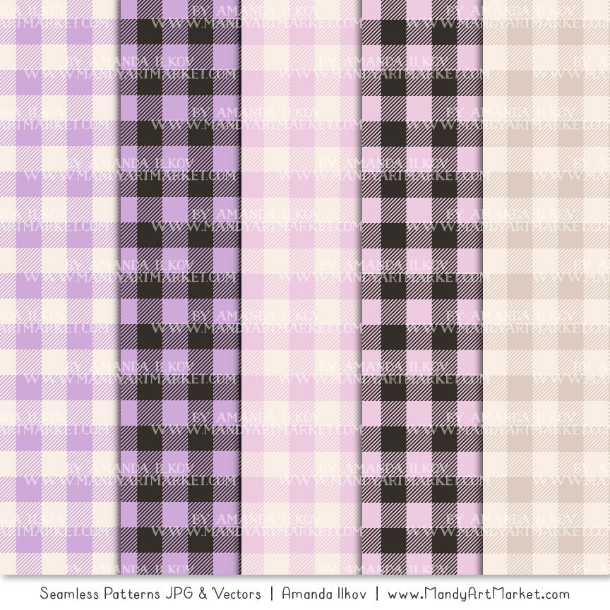 Lavender Cozy Plaid Patterns