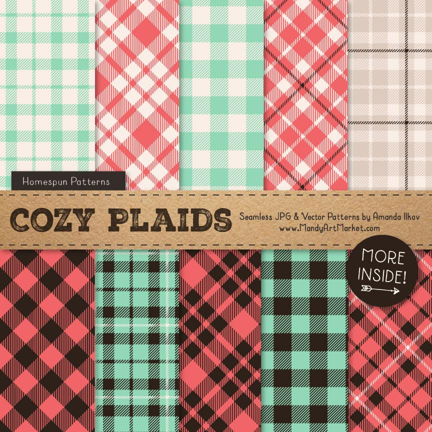 Mint & Coral Cozy Plaid Patterns