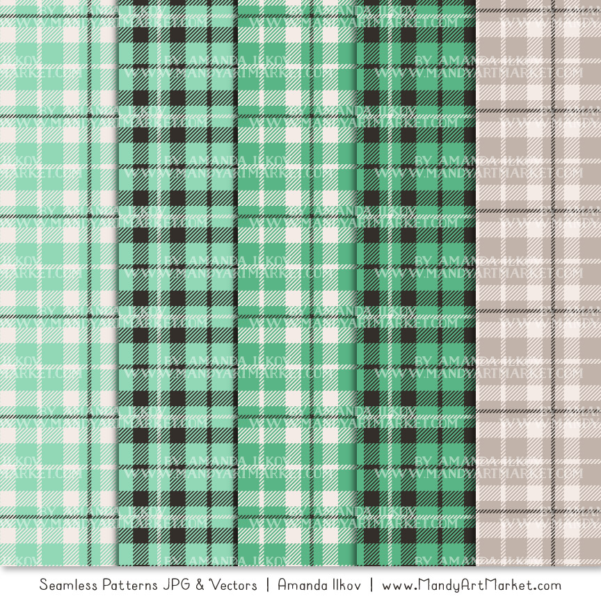 Mint Cozy Plaid Patterns