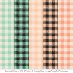 Mint & Peach Cozy Plaid Patterns