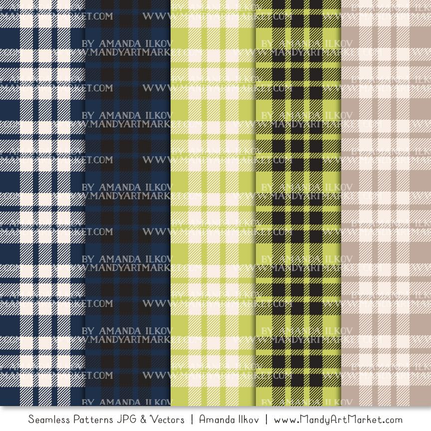 Navy & Bamboo Cozy Plaid Patterns