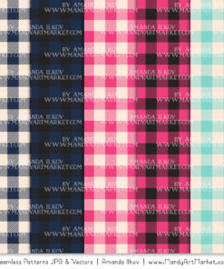 Navy & Hot Pink Cozy Plaid Patterns