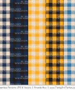 Navy & Lemon Cozy Plaid Patterns