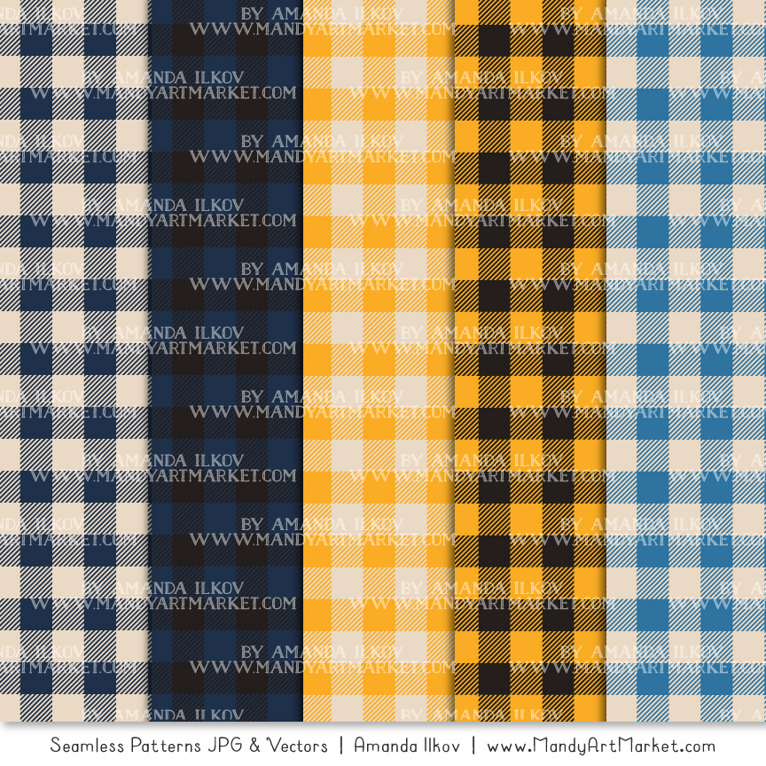 Navy & Lemon Cozy Plaid Patterns