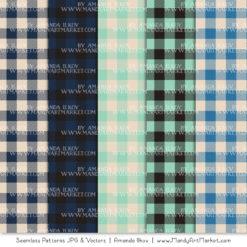 Navy & Mint Cozy Plaid Patterns