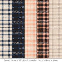 Navy & Peach Cozy Plaid Patterns