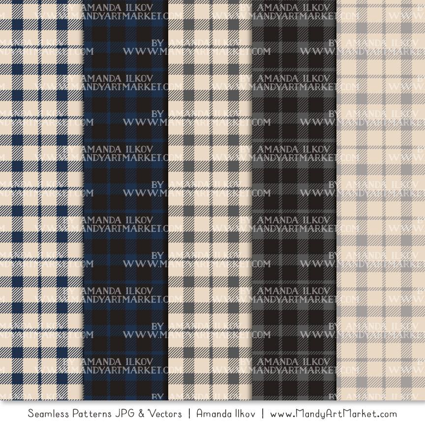 Navy & Pewter Cozy Plaid Patterns
