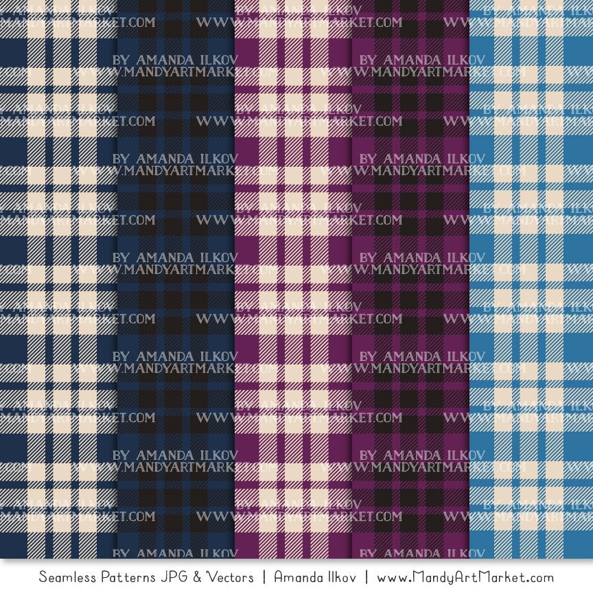 Navy & Plum Cozy Plaid Patterns
