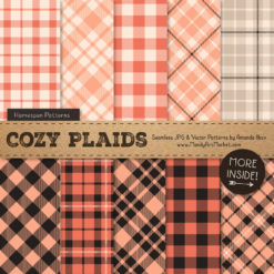 Peach Cozy Plaid Patterns