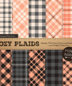 Peach & Pewter Cozy Plaid Patterns