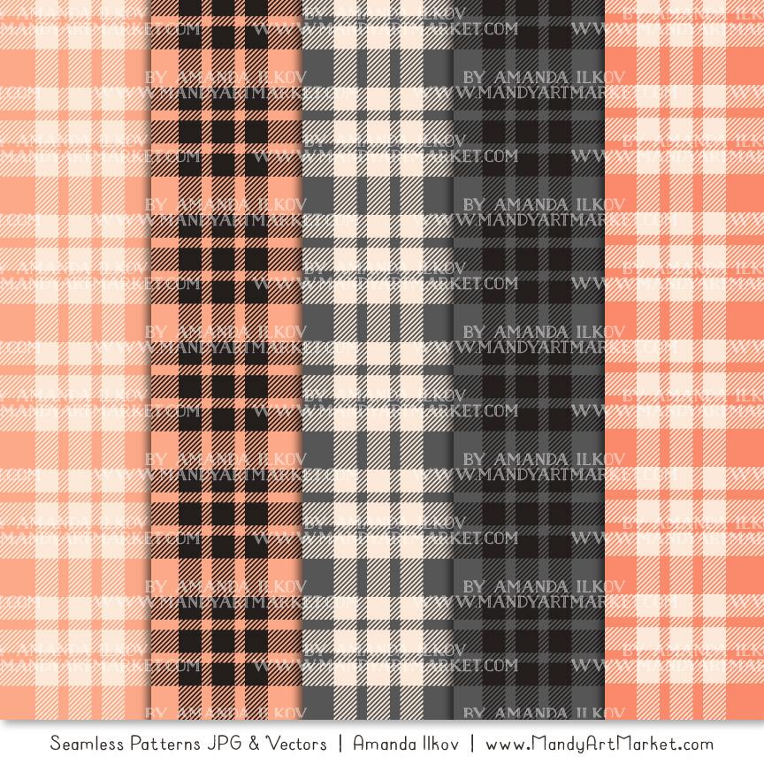 Peach & Pewter Cozy Plaid Patterns