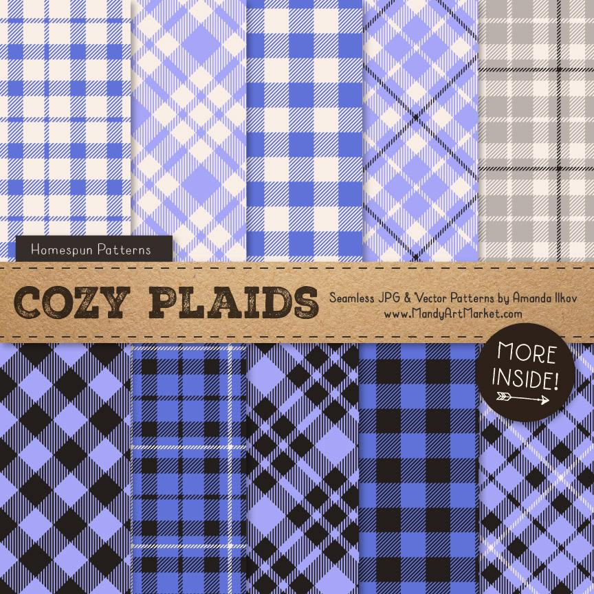 Periwinkle Cozy Plaid Patterns
