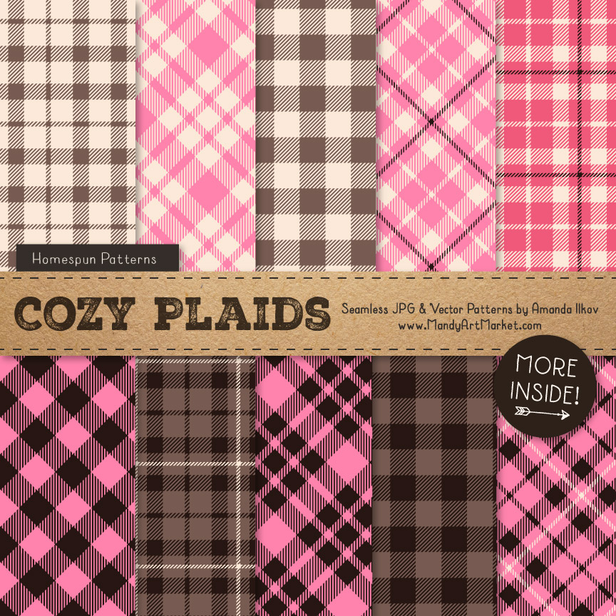 Pink & Brown Cozy Plaid Patterns