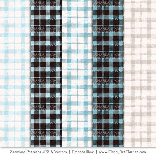Soft Blue Cozy Plaid Patterns