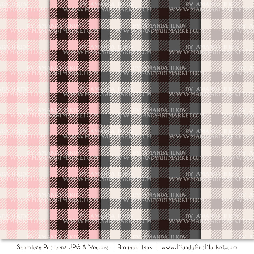 Soft Pink & Pewter Cozy Plaid Patterns