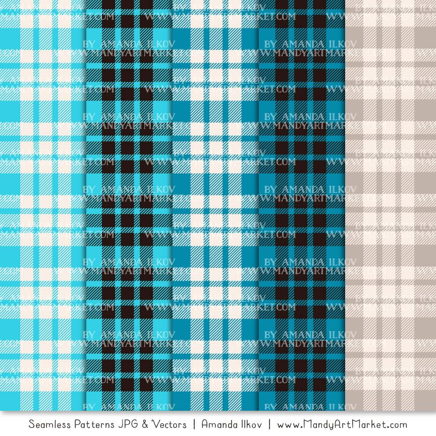 Tropical Blue Cozy Plaid Patterns