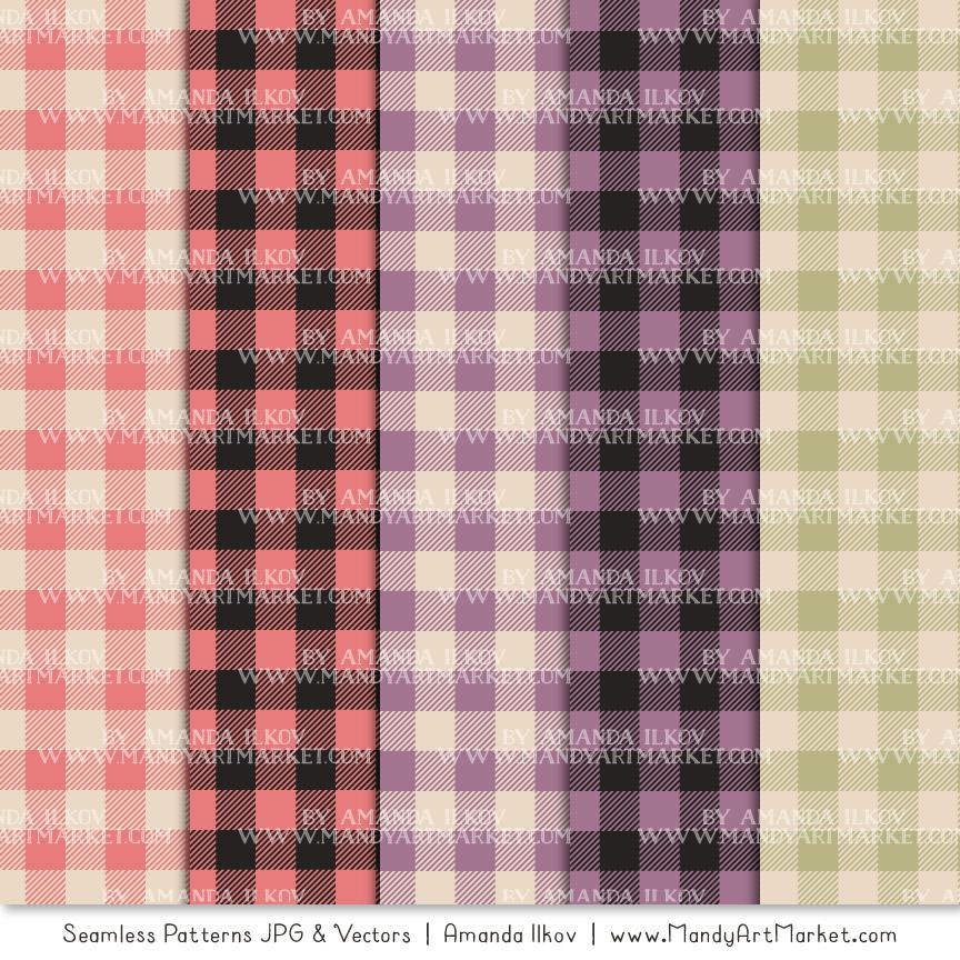 Vintage Girl Cozy Plaid Patterns
