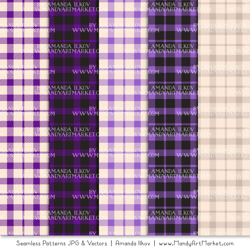 Violet Cozy Plaid Patterns
