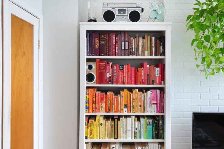 Color Blocked Bookshelves