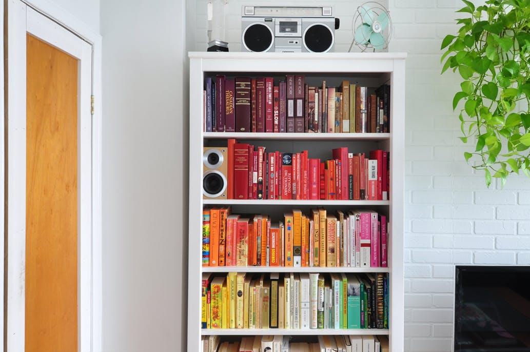color blocked bookshelves - Colored Bookshelves