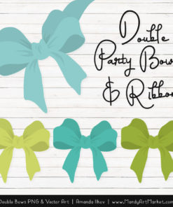 Free Aqua & Bamboo Party Bow Clipart