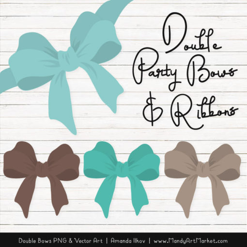 Free Aqua & Brown Party Bow Clipart