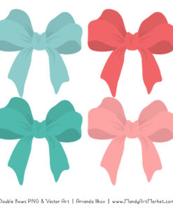 Free Aqua & Coral Party Bow Clipart
