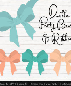 Free Aqua & Peach Party Bow Clipart