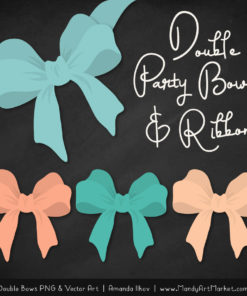 Free Aqua & Peach Party Bow Clipart
