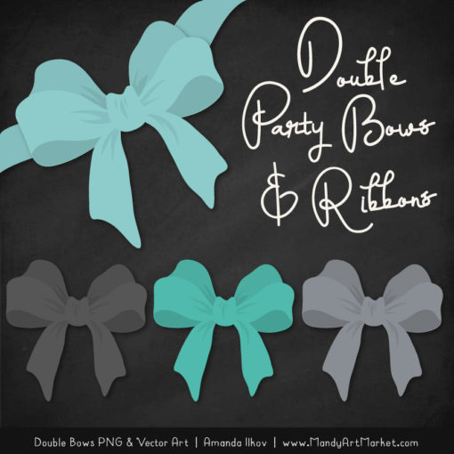 Free Aqua & Pewter Party Bow Clipart