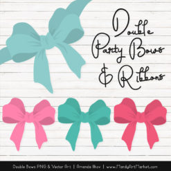 Free Aqua & Pink Party Bow Clipart