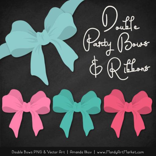 Free Aqua & Pink Party Bow Clipart