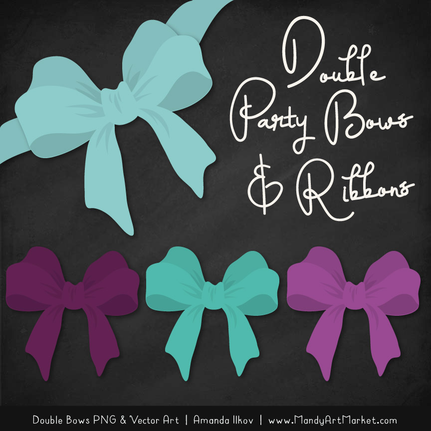 Free Aqua & Plum Party Bow Clipart