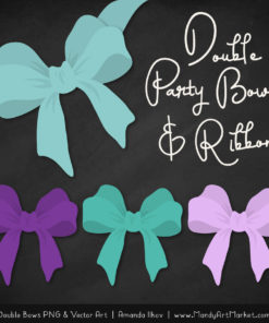 Free Aqua & Purple Party Bow Clipart