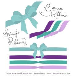Free Aqua & Purple Party Bow Clipart