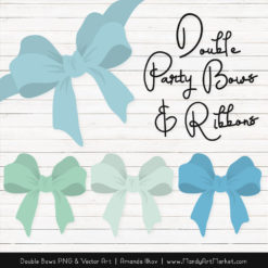 Free Blue & Mint Party Bow Clipart